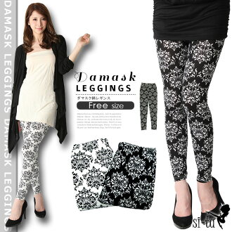 Damask pattern leggings [Free] damask pattern leggings westergom damask legging black white sheer leggings spats monotone black and white Gothic Baroque pattern leggings spring summer