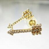 K18YGARROWデザインダイヤモンドスタッドピアスラウンドブリリアントカット天然ダイヤモンド18金イエローゴールド