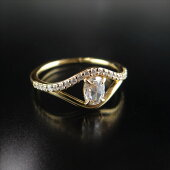 K18YGローズカットダイヤモンドオーバルシェイプevileyeデザイン13号天然ダイヤモンドインドジュエリー