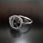 K18WGクールな印象のブラックダイヤモンドローズカットメレダイヤモンド取り巻きリング一粒リングスタッキングインドジュエリー