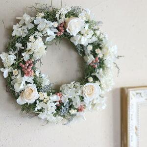 ホワイトシャンパンのリース◆プリザーブドフラワー・新築祝い・お誕生日・母の日・敬老の日・ウエディング・ブライダル・結婚祝い