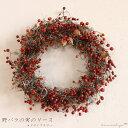 【 送料無料 】野バラの実のリース ◆大人気の野バラの実のシックで大人っぽいシンプルなドライフラワーリース ◆クリスマス飾りにも♪