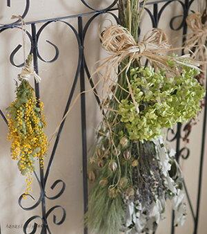 アナベルとホワイトポプラのブーケ*人気のアナベルのドライフラワーを使ったシンプルで素朴なデザインのブーケ/インテリアアジサイラベンダーナチュラルディスプレイギフトプレゼントアレンジ花母の日スワッグ