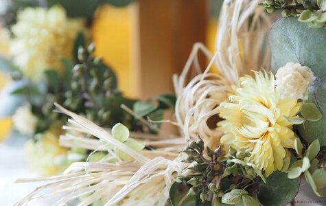 陽だまりのリース*元気の出るイエローとグリーンの優し気なドライフラワーリース◆お祝い誕生日お礼ホワイトデープレゼント母の日花束贈呈ウェディングウェルカムリースギフトインテリアナチュラル