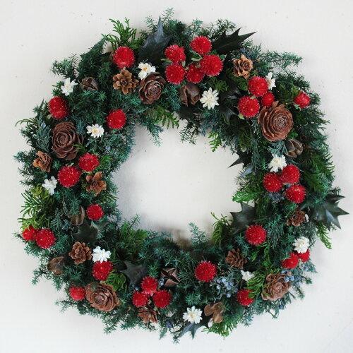 クリスマスレッドのリースL/プリザーブドフラワー・クリスマスリース・ギフト・お祝...