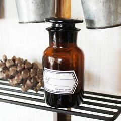 アンティークっぽいデザインの薬ビンメディカルボトル 125ml ブラウン / メディシンボトル アン...