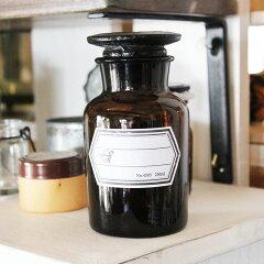 アンティークっぽいデザインの薬ビンメディカルボトル 250ml ブラウン / メディシンボトル アン...
