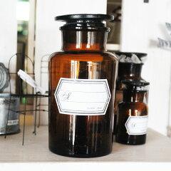 アンティークっぽいデザインの薬ビンメディカルボトル 500ml ブラウン / メディシンボトル アン...