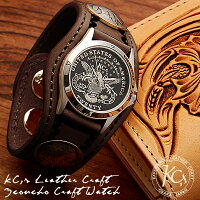 【KC,s】レザーブレスウォッチ3コンチョクラフト/牛革腕時計