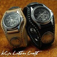 【KC,s】3コンチョウォッチブレスフリーカット/牛革腕時計