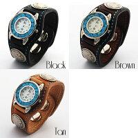 【KC,s】3コンチョウォッチブレスターコイズステッチ&ムーブメント/牛革腕時計