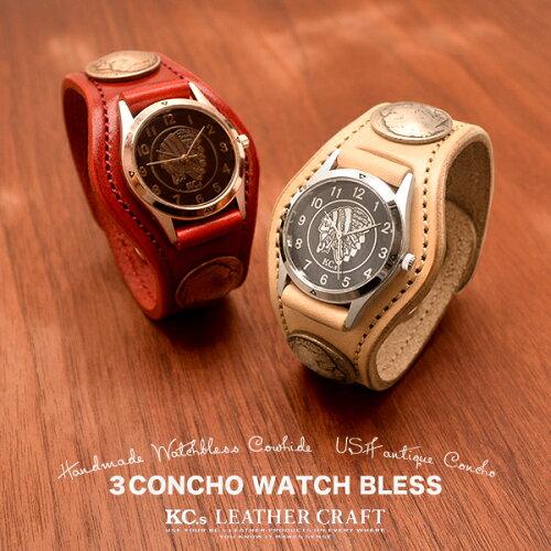 雑誌掲載で爆発的な人気を誇る腕時計 レザーブレスウォッチ3コンチョウォッチ...