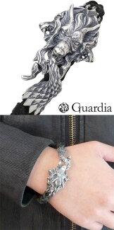 【Guardia/ガルディア】Kerberosケルベロスシルバーブレスレット/ブラックレザーラッピング無料