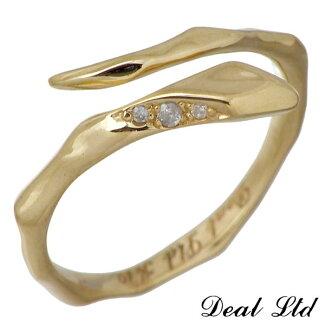 DEALLTD【ディールエルティーディー】LINESNAKERINGW/SK10ゴールドリングダイヤモンドスネークヘビ指輪7号~19号