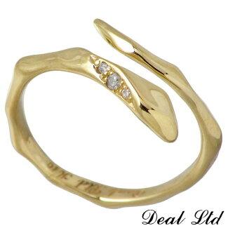 【NEW】DEALLTD【ディールエルティーディー】LINESNAKERINGW/SK10ゴールドリングダイヤモンドスネークヘビ指輪7号~19号【10P07Nov15】