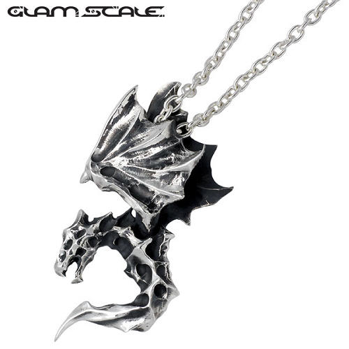 ネックレス メンズ ドラゴン GLAM SCALE【グラムスケイル】 シルバー チェーン付き ガーゴイル ウィング 翼 925 スターリングシルバー:シルバーアクセサリーSies Rosso