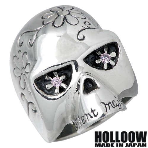 HOLLOOW【ホロウ】リング 指輪 レディース スカル メンズ シルバー ピンクキュービック ドクロ 髑髏 10〜25号925 スターリングシルバー KHR-10