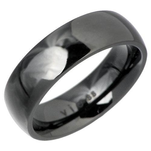 vie【ヴィー】リング 指輪 金属アレルギー対応 レディース アレルギーフリー ステンレス プレーン ブラック【楽ギフ_名入れ】 vie-R1003BK
