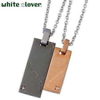 whiteclover【ホワイトクローバー】ローマシェアハートダイヤモンドステンレスペアネックレスゴールドブラック
