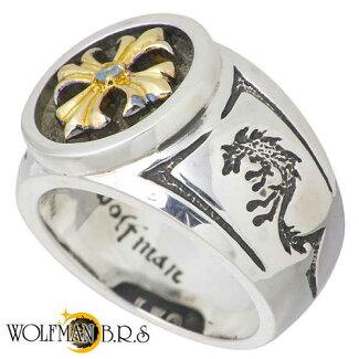 WOLFMANB.R.S【ウルフマンB.R.S】リング指輪メンズシルバークロスGブルートパーズ19~23号925スターリングシルバー