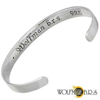 WOLFMANB.R.S【ウルフマンB.R.S】バングルメンズシルバーウルフ合成サファイア狼925スターリングシルバー