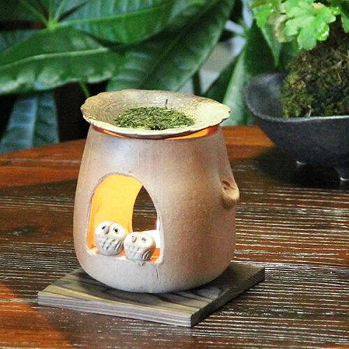 茶香炉 ふくろう茶香炉 陶器茶香炉 陶器アロマ 茶 しがらき フクロウ 焼き物 信楽焼 火 キャンドル...
