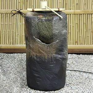 信楽焼 和風 おしゃれ 涌き水電動つくばい渓流 陶器つくばい 循環 水琴窟 水流 蹲 筧 かけひ すいきん カケヒ きツクバイ 箱庭 dt-0011
