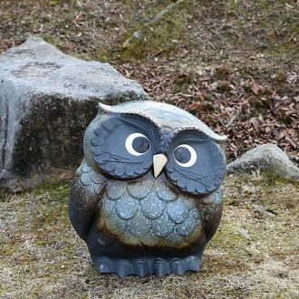 號 14 頸部在握貓頭鷹 (藍色) ! / 申樂 / 貓頭鷹,貓頭鷹俑 / 陶貓頭鷹 / 信樂燒陶器和貓頭鷹雕像 / 貓頭鷹而來照耀 / 陶器 / 閃耀 / 好運 / 禮品 [福-0147] 10P01Oct16