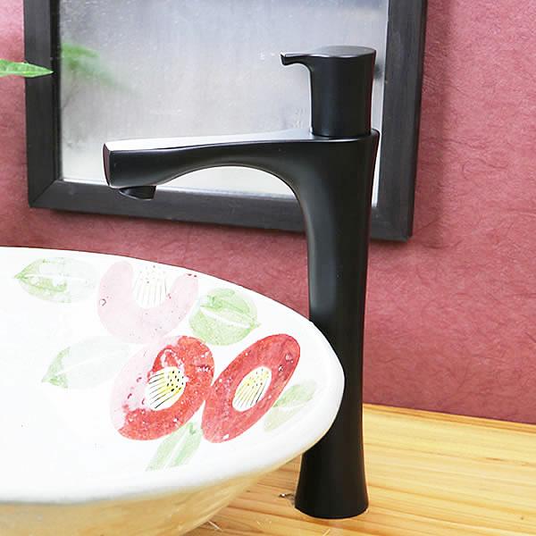 立ち水栓 手洗い鉢用 立水栓 単水栓 マットブラック ロング [se-0027]:信楽焼き専門店・陶器工房しがらき