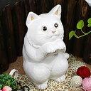 信楽焼 和風 おしゃれ 幸福ねこ置物 陶器の可愛いネコ置物 インテリア しがらきやき ねこ 猫置物 猫 縁起物 ギフト ok-0055