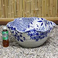 信楽焼き17号四季花ひねり水鉢