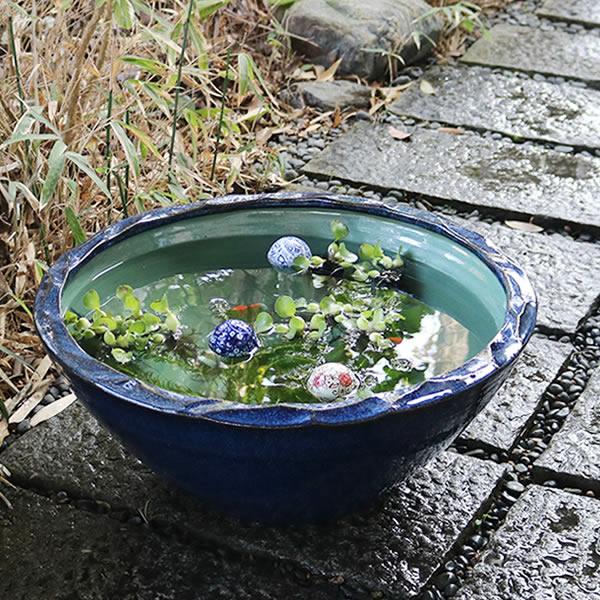 水鉢 すいれん鉢 信楽焼すいれん鉢 メダカ鉢、 金魚鉢にも最適 睡蓮鉢 陶器スイレン鉢 ハス鉢 はす鉢 めだか鉢 鉢