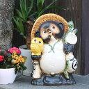 信楽焼 13号黄ふくろう持ち狸 信楽焼たぬき 縁起物のタヌキ 陶器タヌキ たぬき置物 やきもの しがらきやき 焼き物 狸 タヌキ 信楽 フクロウ ta-0077