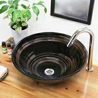 鉄ハケ目ソリ型手洗い鉢
