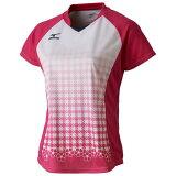 【在庫処分】ミズノ ゲームシャツ(ラケットスポーツ)[レディース] ベリーピンク×ホワイト Mizuno 72MA7202 64