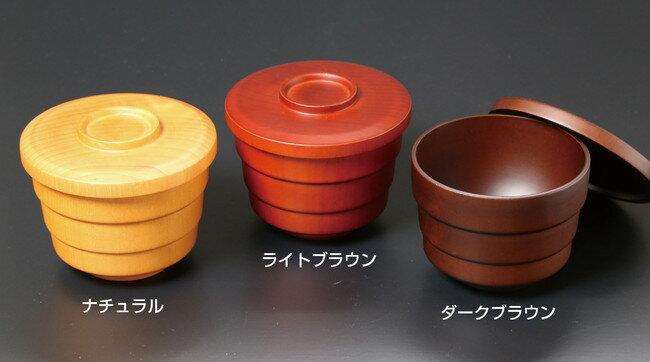木製・蓋付飯椀 ダークブラウン (W30038) (業務用弁当箱/飯器・ひつまぶし・しゃもじ)
