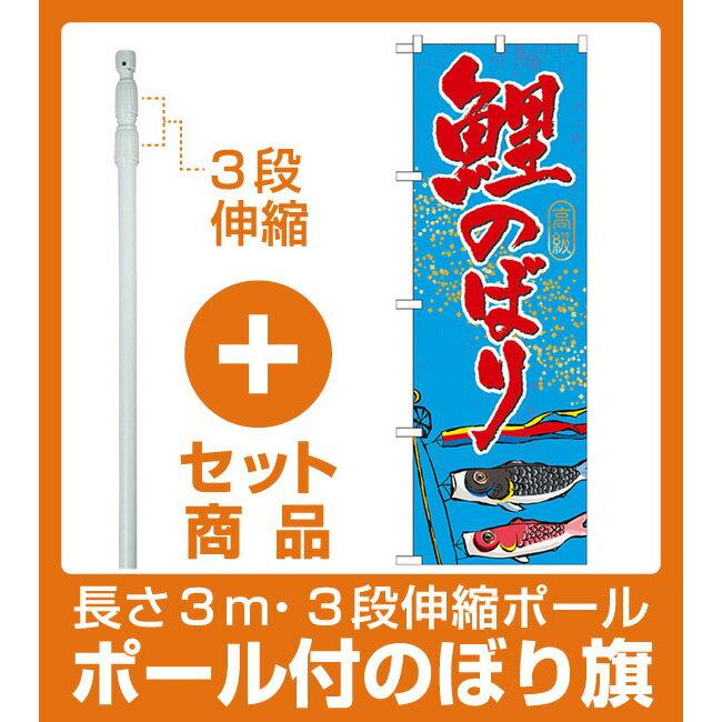 【セット商品】3m・3段伸縮のぼりポール(竿)付 のぼり旗 鯉のぼり (GNB-931)