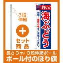 【セット商品】3m・3段伸縮のぼりポール(竿)付 のぼり旗 旨い!海ぶどう (21664)