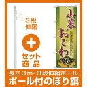 【セット商品】3m・3段伸縮のぼりポール(竿)付 のぼり旗 (2797) 山菜おこわ(お弁当・お惣菜・おにぎり/おこわ・赤飯)
