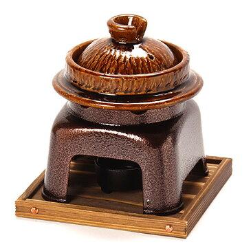 【送料無料♪】飴釉羽釜かまどセット (鍋・コンロ/釜飯・陶器鍋・銅釜)