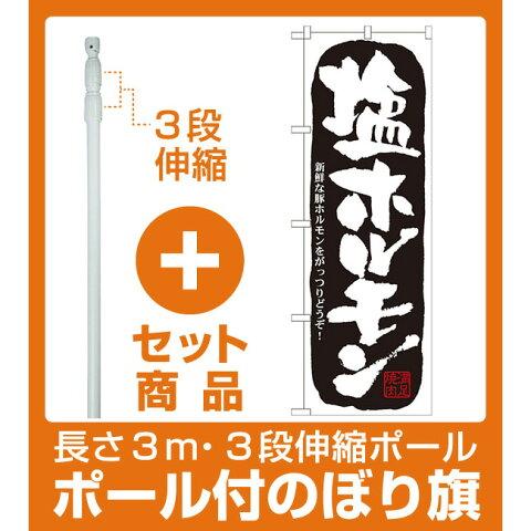 【セット商品】3m・3段伸縮のぼりポール(竿)付 のぼり旗 塩ホルモン (21127)
