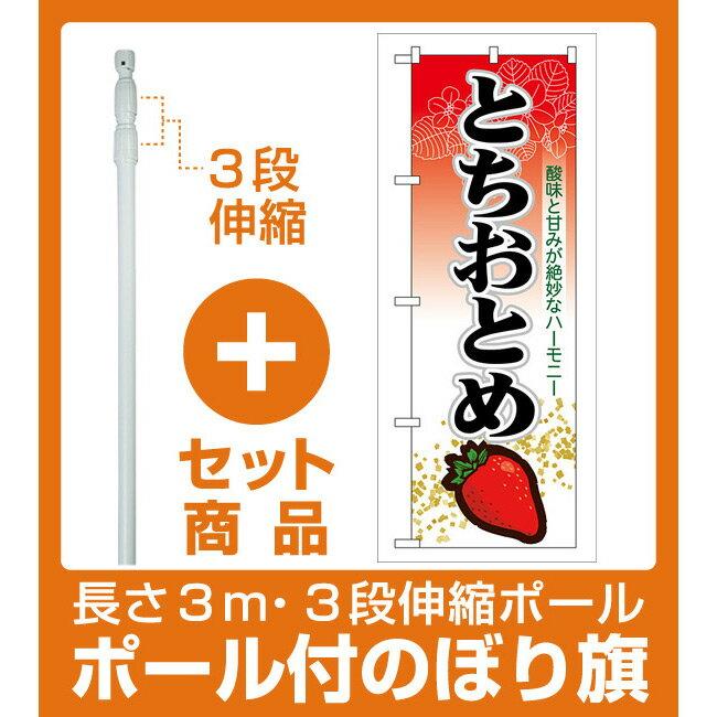 【セット商品】3m・3段伸縮のぼりポール(竿)付 のぼり旗 表示:とちおとめ (7885)