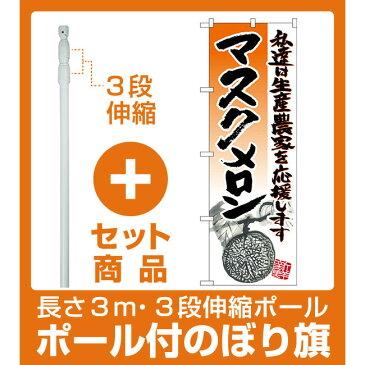 【セット商品】3m・3段伸縮のぼりポール(竿)付 のぼり旗 マスクメロン (SNB-2257)
