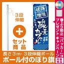 【セット商品】3m・3段伸縮のぼりポール(竿)付 のぼり旗 (GNB-336) 健康増進 酸素カプセル(業種別/エステ・マッサージ・整体)
