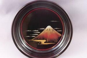 【越前漆器】【送料無料】椿皿漆溜ぬり赤富士沈金化粧箱入り