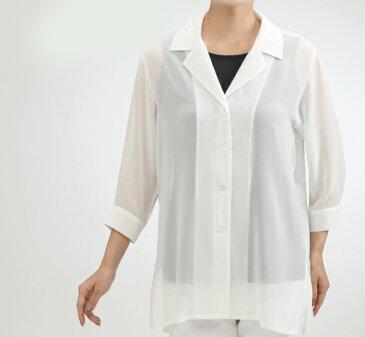 【シルクオーバーブラウス7分袖】ファッション・トップス・シルク100%の薄手ブラウスです。シルクトップス♪