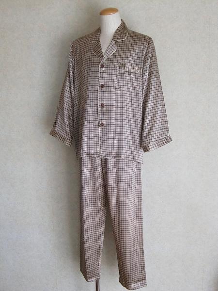 【送料無料】シルクパジャマ長袖 【茶格子柄】シルク100%M→XXXL 大きいサイズもあり《ブランド嬌奴》紳士用18色柄【あす楽対応】でお届けいたします