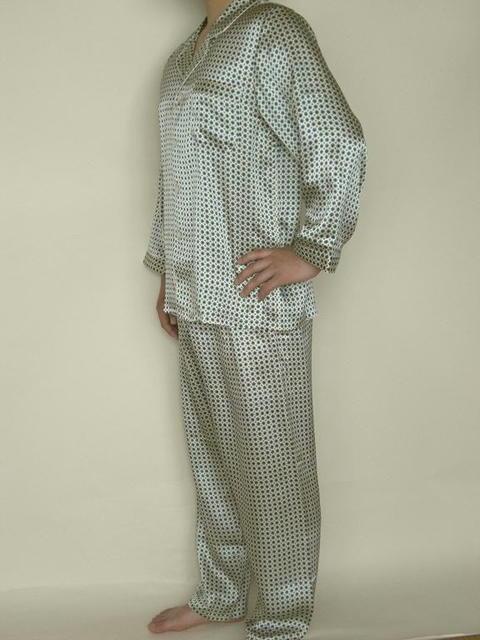 【あす楽】【送料無料】シルクパジャマ長袖紳士 【緑柄】シルク100%大きいサイズ XXL→XXXL紳士用20色柄・同柄半袖もありますラッピングしてプレゼントにもお薦め♪