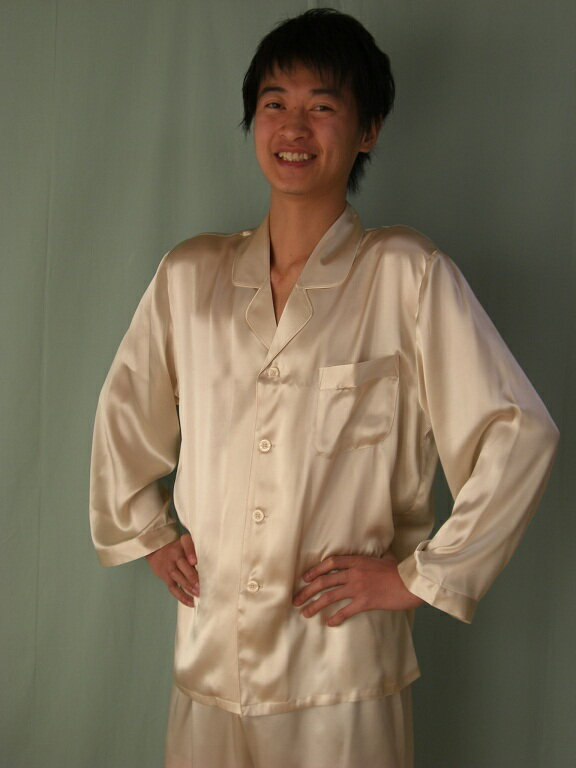 【あす楽】【送料無料】シルクパジャマ長袖紳士 【ゴールド】シルク100%大きいサイズ XXL→XXXL揃えています紳士用20色柄ラッピングしてプレゼントにもお薦め