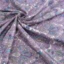 【国産】ポリサテンプリント ダマスク柄 110cm幅×2.5m ポリエステル100 % パープル 紫 水色